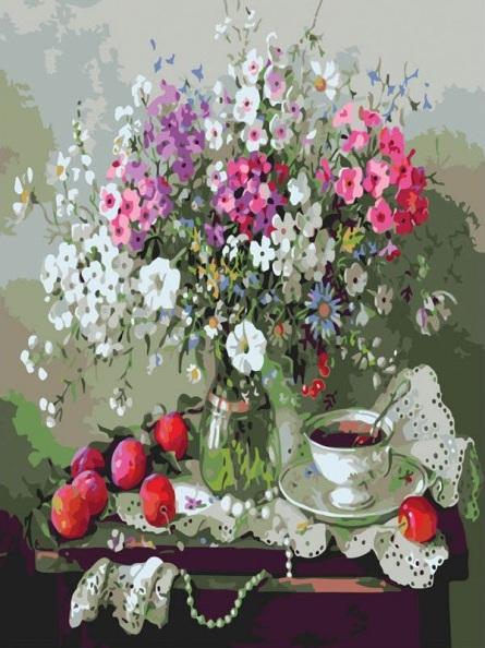 Купить Раскраски по номерам - Картина «Дачный натюрморт», 40 х 50 см., Белоснежка