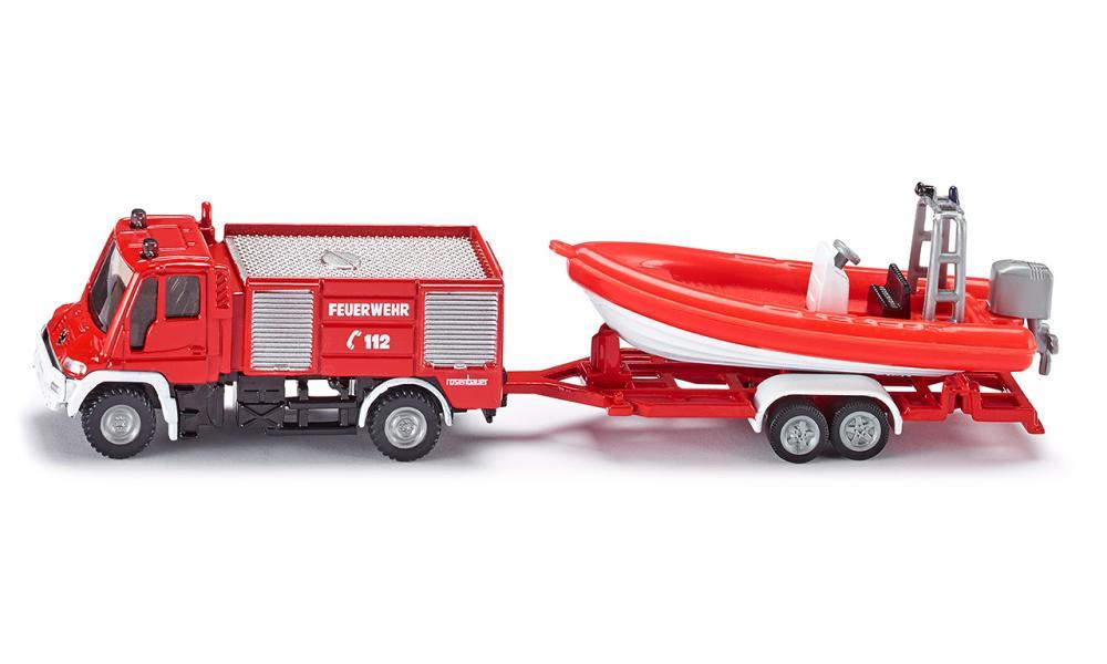 Металлическая модель - Пожарная машина Mercedes с катером, 1:87 фото