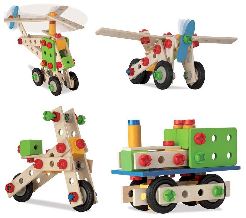 Конструктор - Вертолет, 4 варианта сборки, 120 деталей в пластиковом ведреДеревянный конструктор<br>Конструктор - Вертолет, 4 варианта сборки, 120 деталей в пластиковом ведре<br>