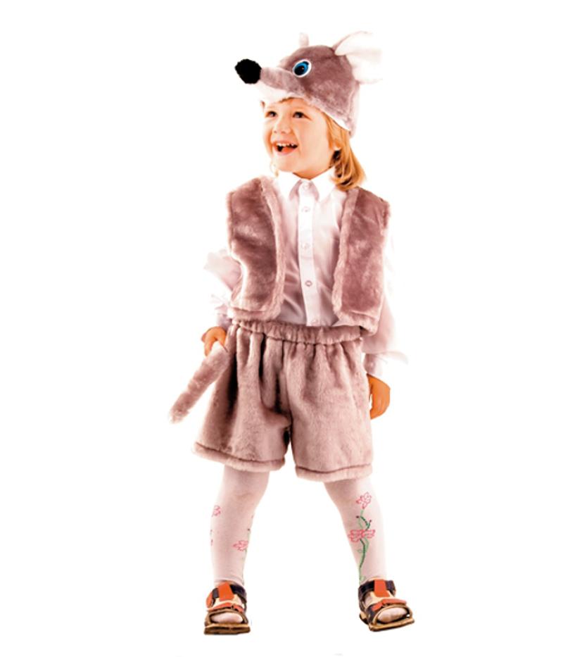 Костюм карнавальный детский - Мышонок серый, мех, размер 28Карнавальные костюмы<br>Костюм карнавальный детский - Мышонок серый, мех, размер 28<br>