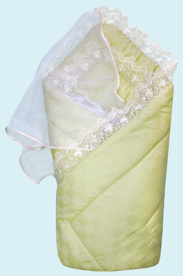Конверт-одеяло на выписку сатин жакард, зеленыйКомплекты на выписку<br>Конверт-одеяло на выписку сатин жакард, зеленый<br>