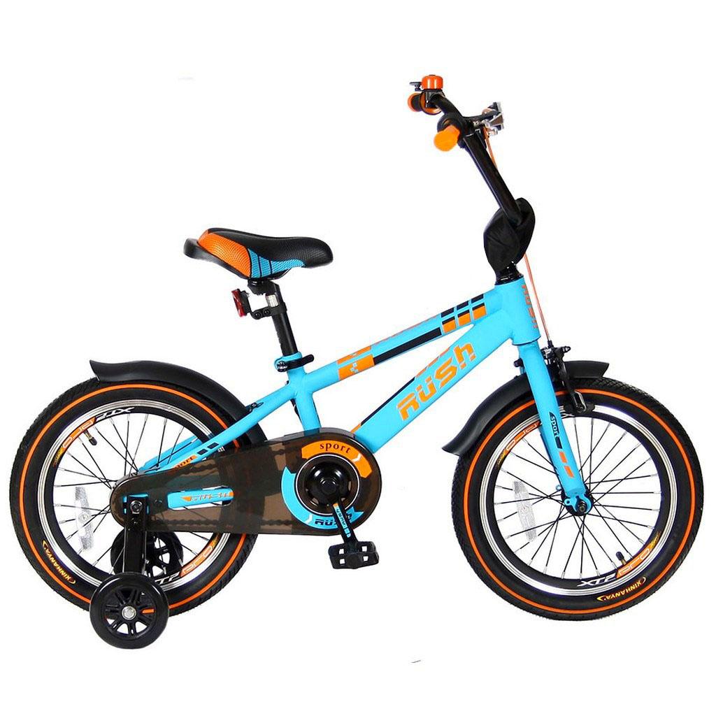 Двухколесный велосипед Rush Sport, диаметр колес 16 дюймов, бирюзовыйВелосипеды детские<br>Двухколесный велосипед Rush Sport, диаметр колес 16 дюймов, бирюзовый<br>