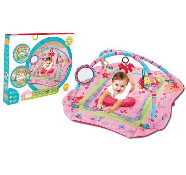 Игровой коврик с зеркальцем и подвешенными игрушкамиДетские развивающие коврики для новорожденных<br>Игровой коврик с зеркальцем и подвешенными игрушками<br>