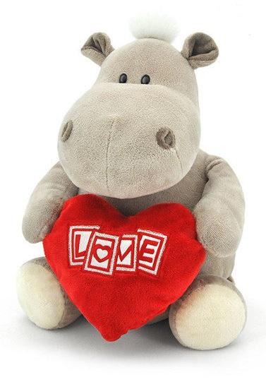 Мягкая игрушка  Бегемот мальчик с сердцем, 50 см - Большие игрушки (от 50 см), артикул: 173990