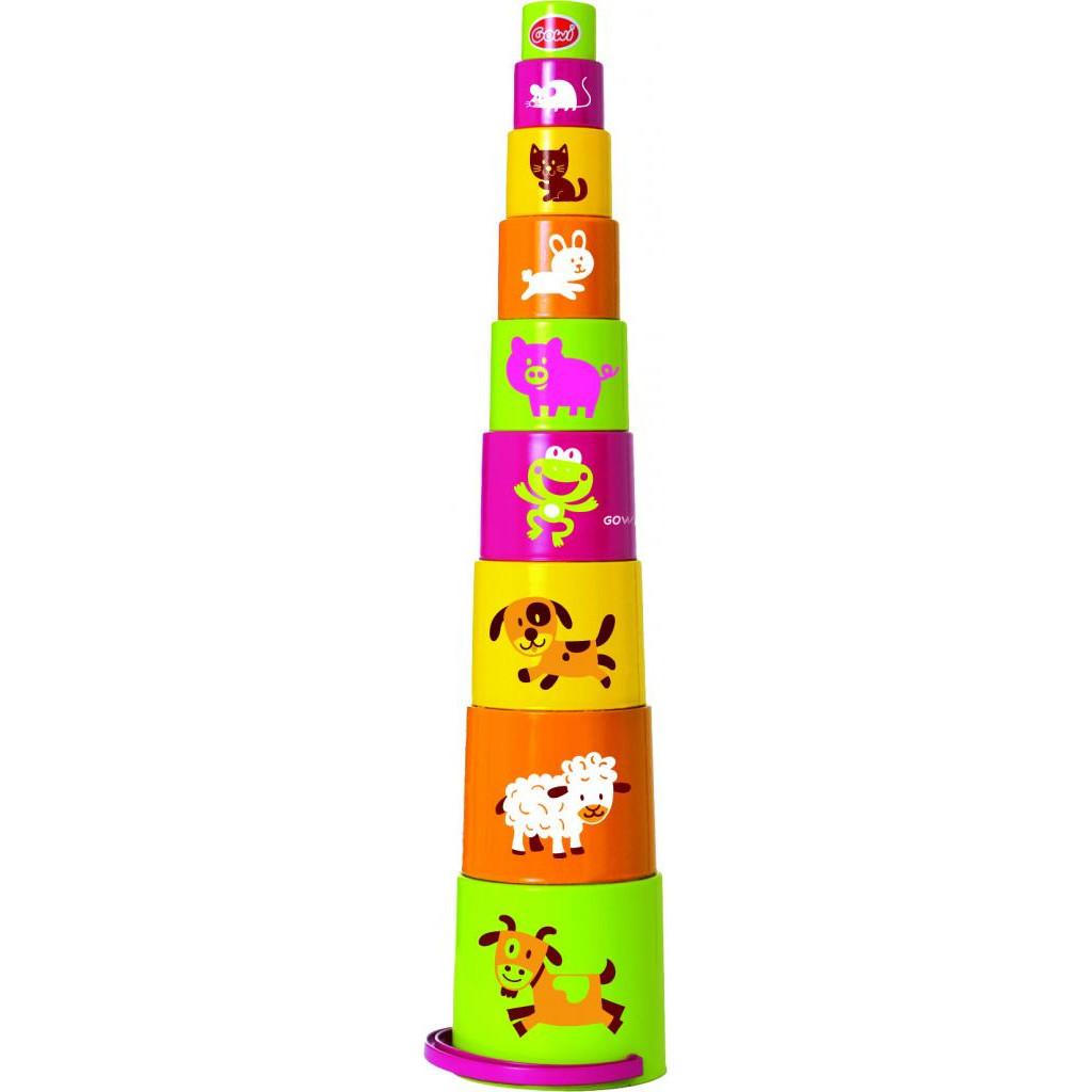 Ведерко-пирамидка Звери, 9 предметов фото