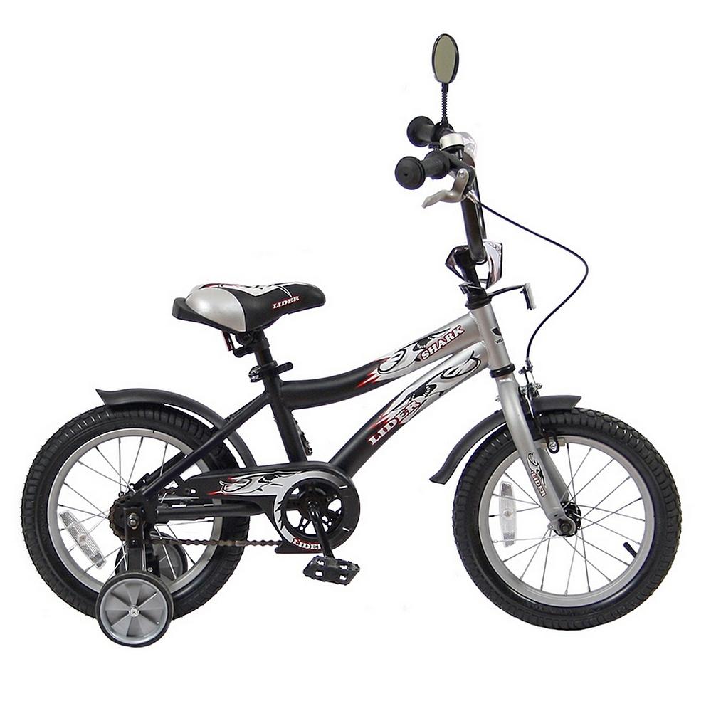 Двухколесный велосипед Lider shark, диаметр колес 14 дюймов, серый/черныйВелосипеды детские<br>Двухколесный велосипед Lider shark, диаметр колес 14 дюймов, серый/черный<br>