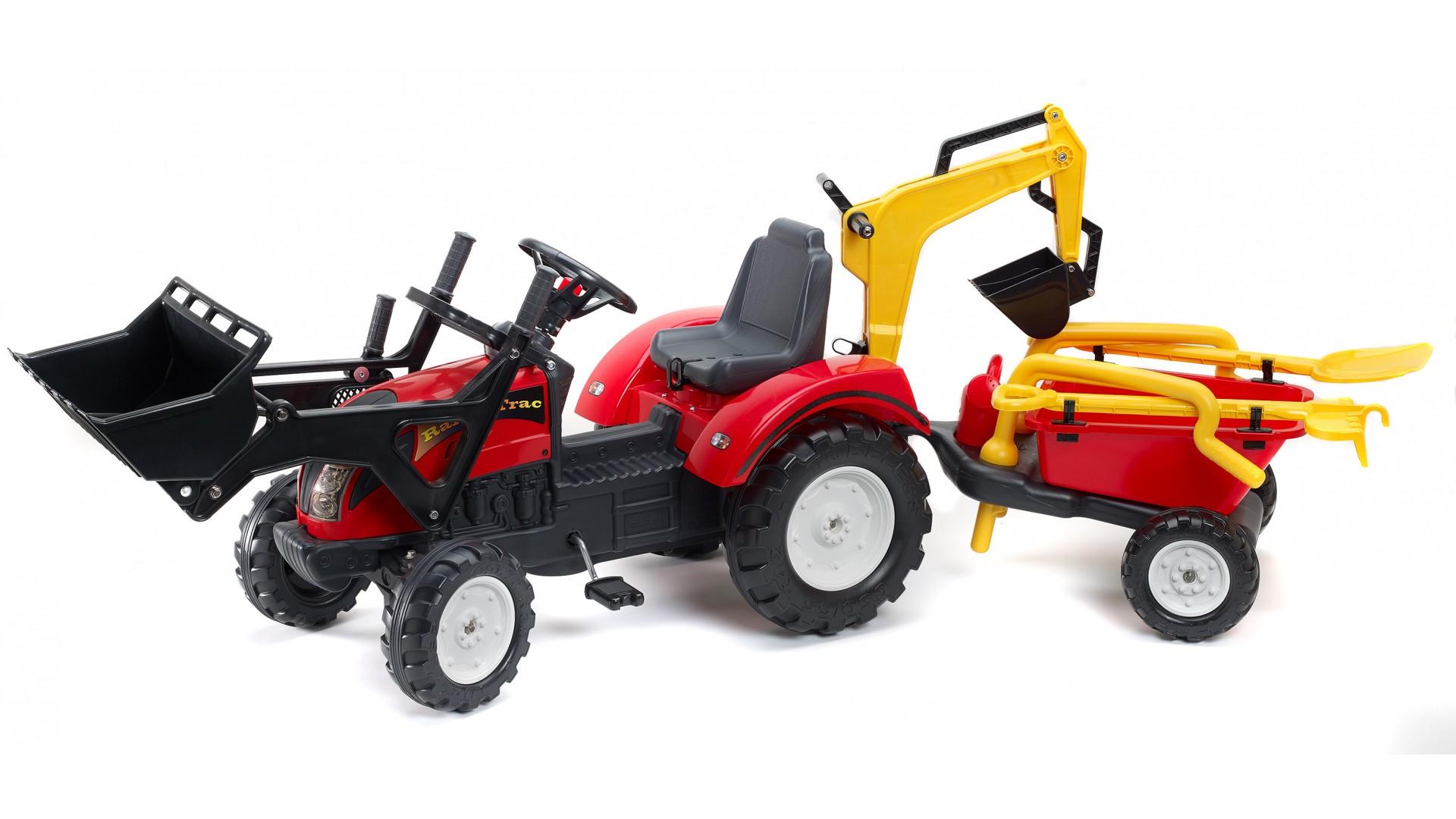 Трактор-экскаватор педальный с прицепом красный 220см.Педальные машины и трактора<br>Трактор-экскаватор педальный с прицепом красный 220см.<br>