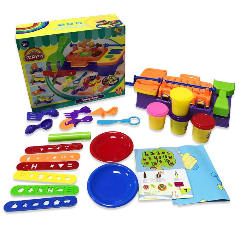 Масса для лепки - Гриль-бар, 4 баночки разных цветов с тематическими аксессуарамиНаборы для лепки<br>Масса для лепки - Гриль-бар, 4 баночки разных цветов с тематическими аксессуарами<br>