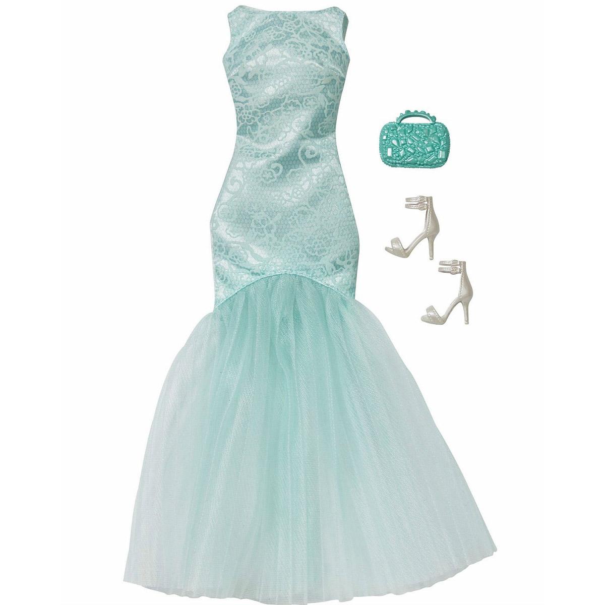 Комплект одежды Барби: Игра с модой – Бирюзовое платьеОдежда для кукол<br>Комплект одежды Барби: Игра с модой – Бирюзовое платье<br>