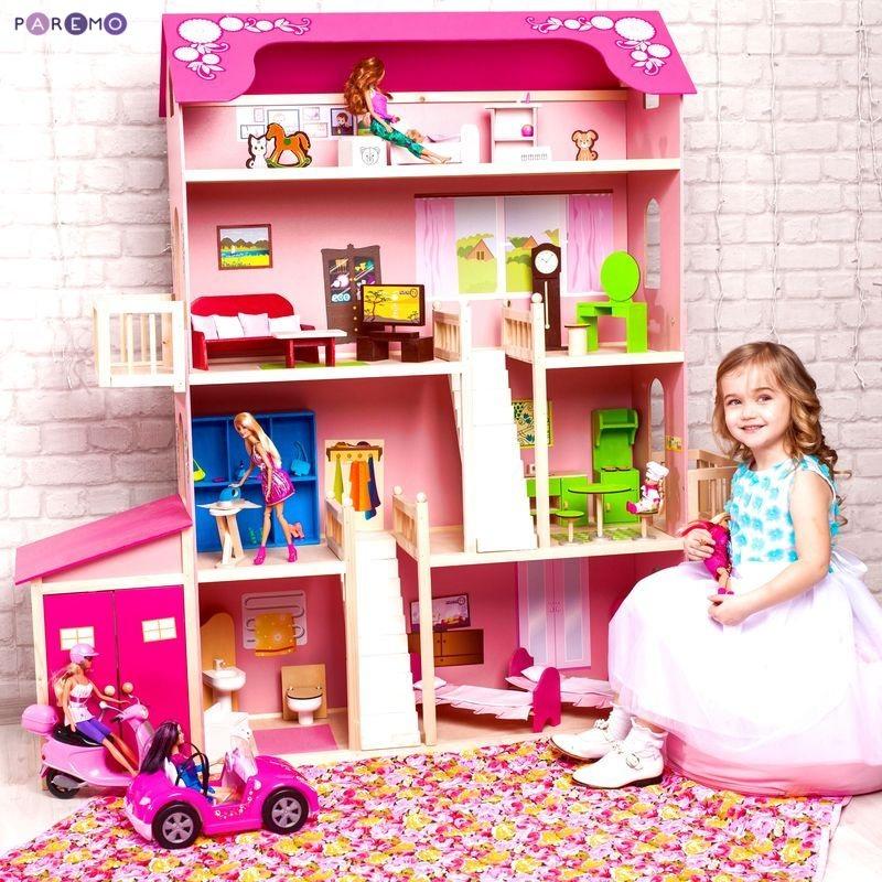 Купить Деревянный дом Барби – Нежность, 28 предметов мебели, 2 лестницы, гараж, Paremo