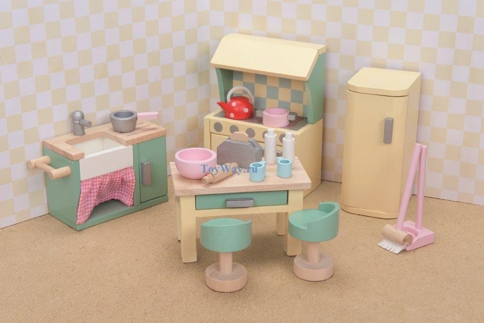 Кукольная мебель деревянная «Бутон розы – Кухня»Кукольные домики<br>Кукольная мебель деревянная «Бутон розы – Кухня»<br>