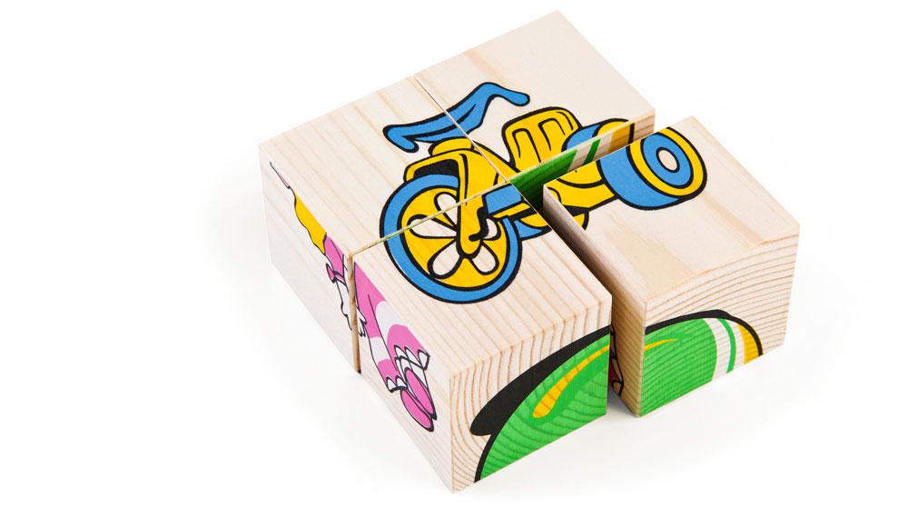 Набор из 4-х кубиков - Игрушки из серии Собери картинкуКубики<br>Набор из 4-х кубиков - Игрушки из серии Собери картинку<br>