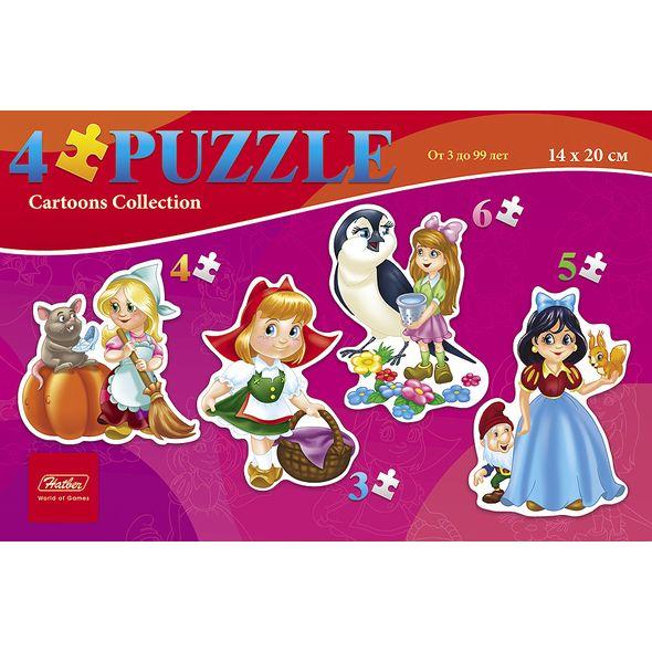 Пазл 3-4-5-6 элементов 4 картинки в 1 коробке - Девочки из сказок, размер 20 х 14 см фото