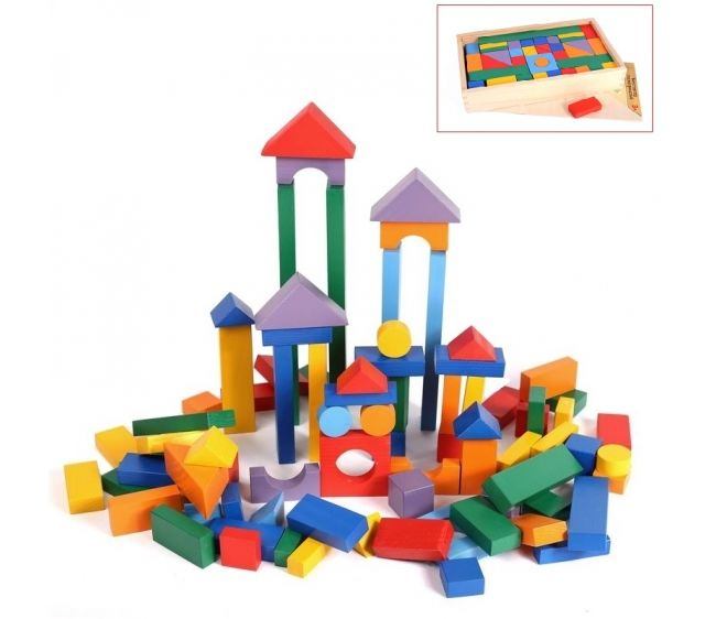 Деревянный конструктор, 85 деталей, в деревянном ящикеДеревянный конструктор<br>Деревянный конструктор, 85 деталей, в деревянном ящике<br>