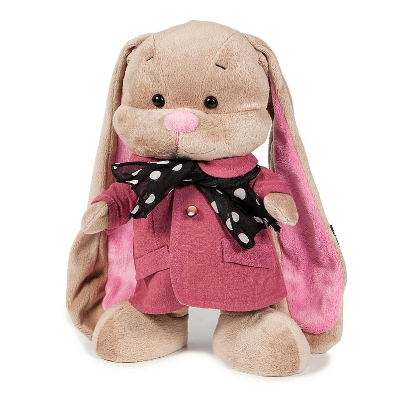 Зайка Лин в розовом пальто со стильным шарфом, 25 смЗайки Жак и Лин (Jack&amp;Lin)<br>Зайка Лин в розовом пальто со стильным шарфом, 25 см<br>