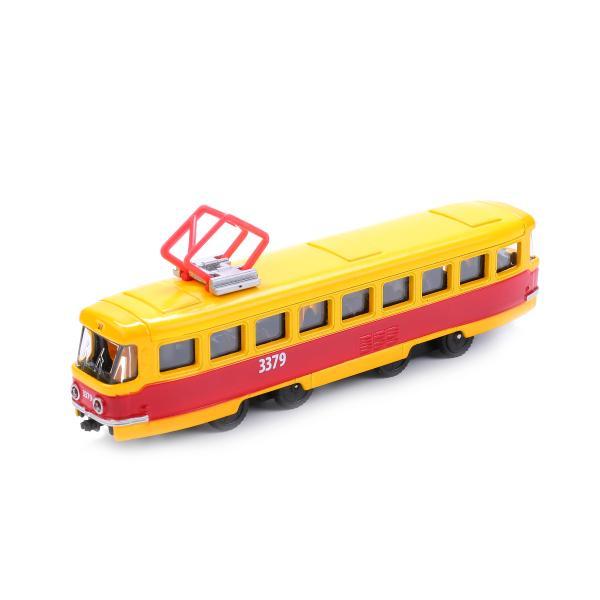 Купить Трамвай металлический инерционный 16, 5 см, открываются двери, Технопарк