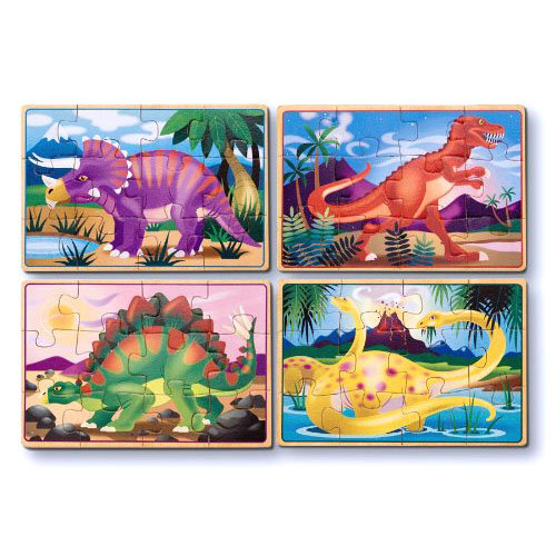 Деревянные пазлы в коробке – ДинозаврыПазлы для малышей<br>Деревянные пазлы в коробке – Динозавры<br>