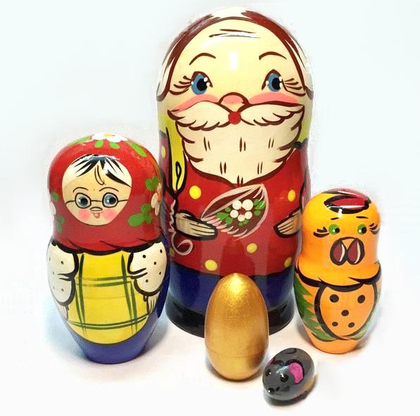 Матрешка Сказка  Курочка Ряба, 5 кукольная, 14 см. - Деревянные игрушки, артикул: 161786