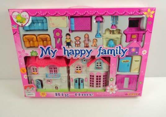 Дом для кукол с мебелью, фигурками и аксессуарами - My happy family