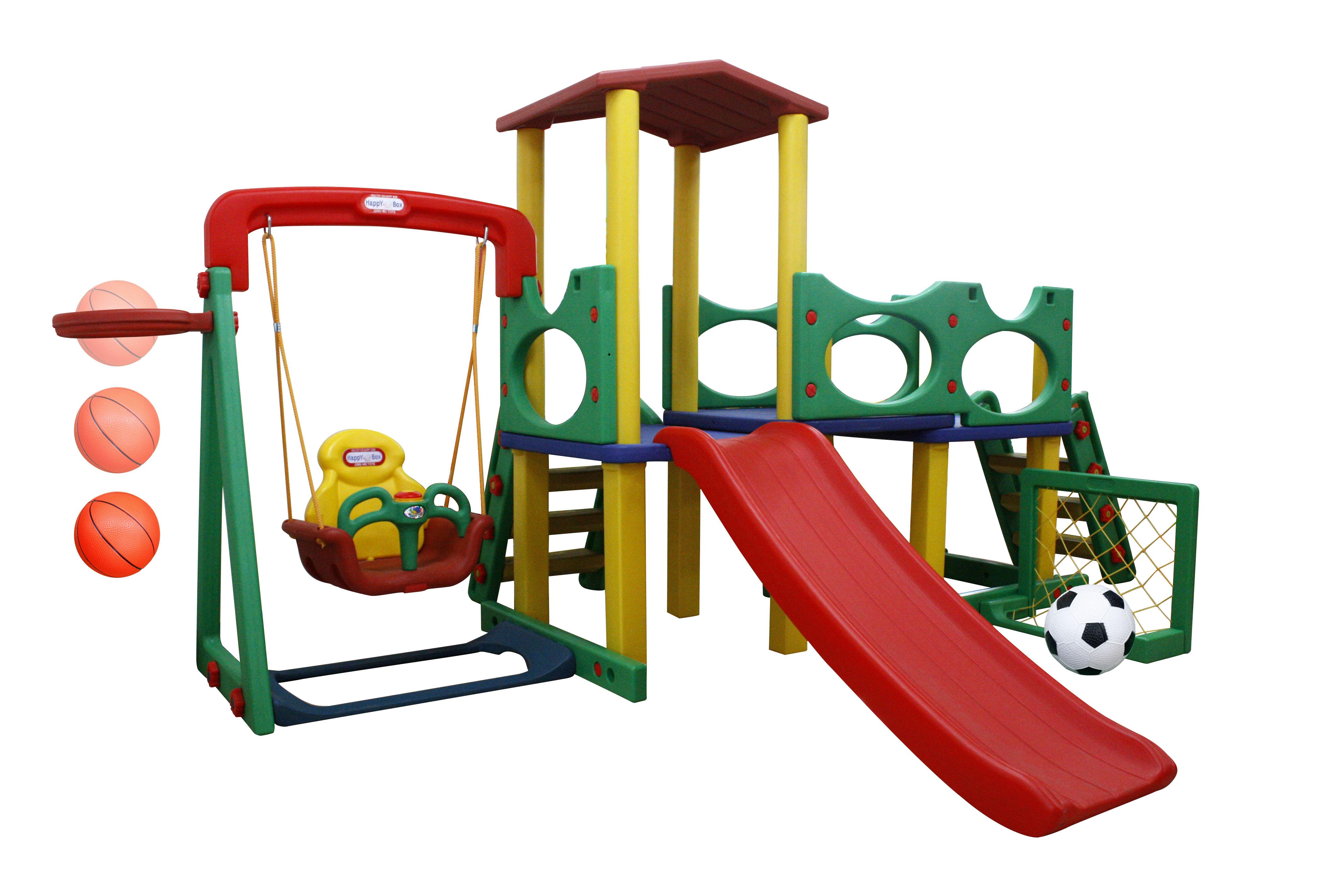 Игровая зона Smart Park с горкой, качелями, баскетбольным мячом и воротами - Детские игровые горки, артикул: 161482