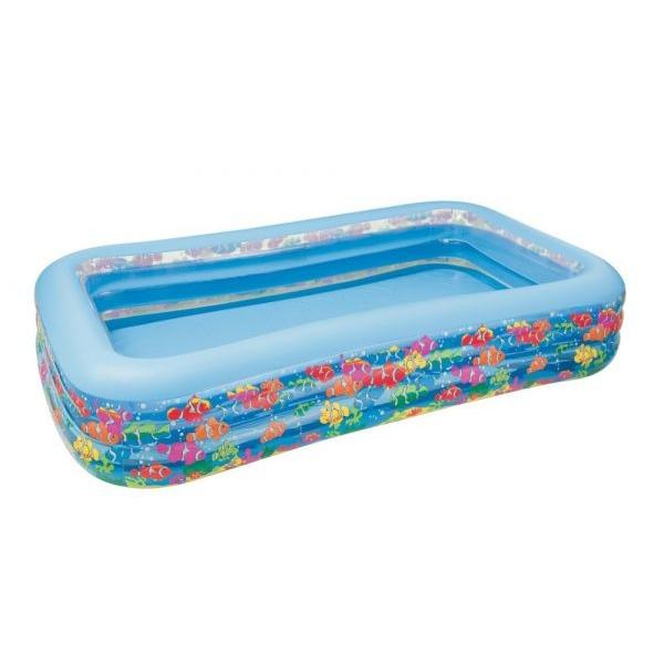 Бассейн надувной прямоугольный с 3 кольцами, дизайн РыбкиДетские надувные бассейны<br>Бассейн надувной прямоугольный с 3 кольцами, дизайн Рыбки<br>