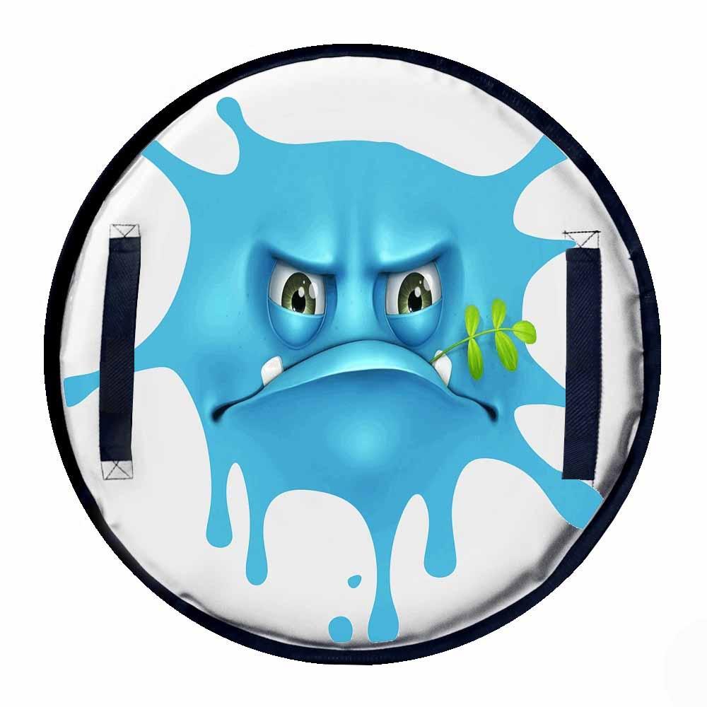 Ледянка - Монстрик, клякса с травинкой синий, диаметр 50Ватрушки и ледянки<br>Ледянка - Монстрик, клякса с травинкой синий, диаметр 50<br>
