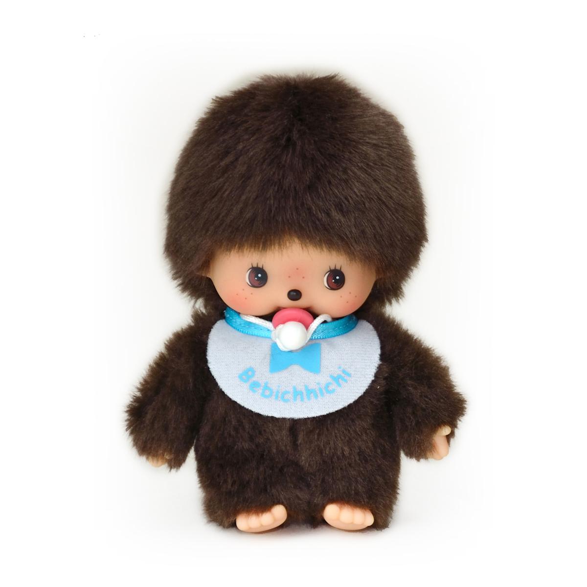 Купить Мягкая игрушка – Бэбичичи, 15 см мальчик в голубом слюнявчике, Monchhichi