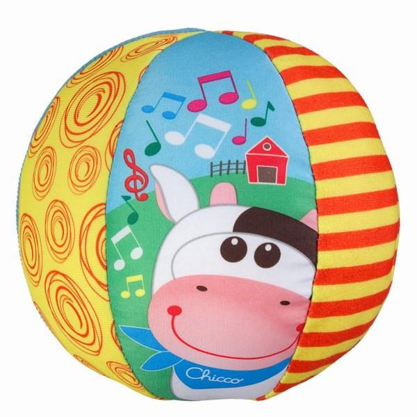 Музыкальный мячик с коровкойРазвивающие Игрушки Chicco<br>Музыкальный мячик с коровкой<br>