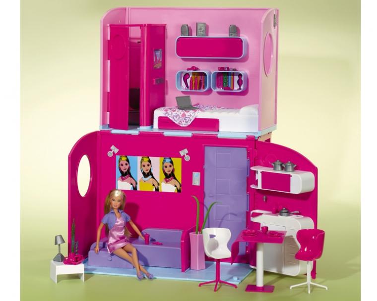 Игровой двухэтажный дом и кукла SteffiКукольные домики<br>Игровой двухэтажный дом и кукла Steffi<br>