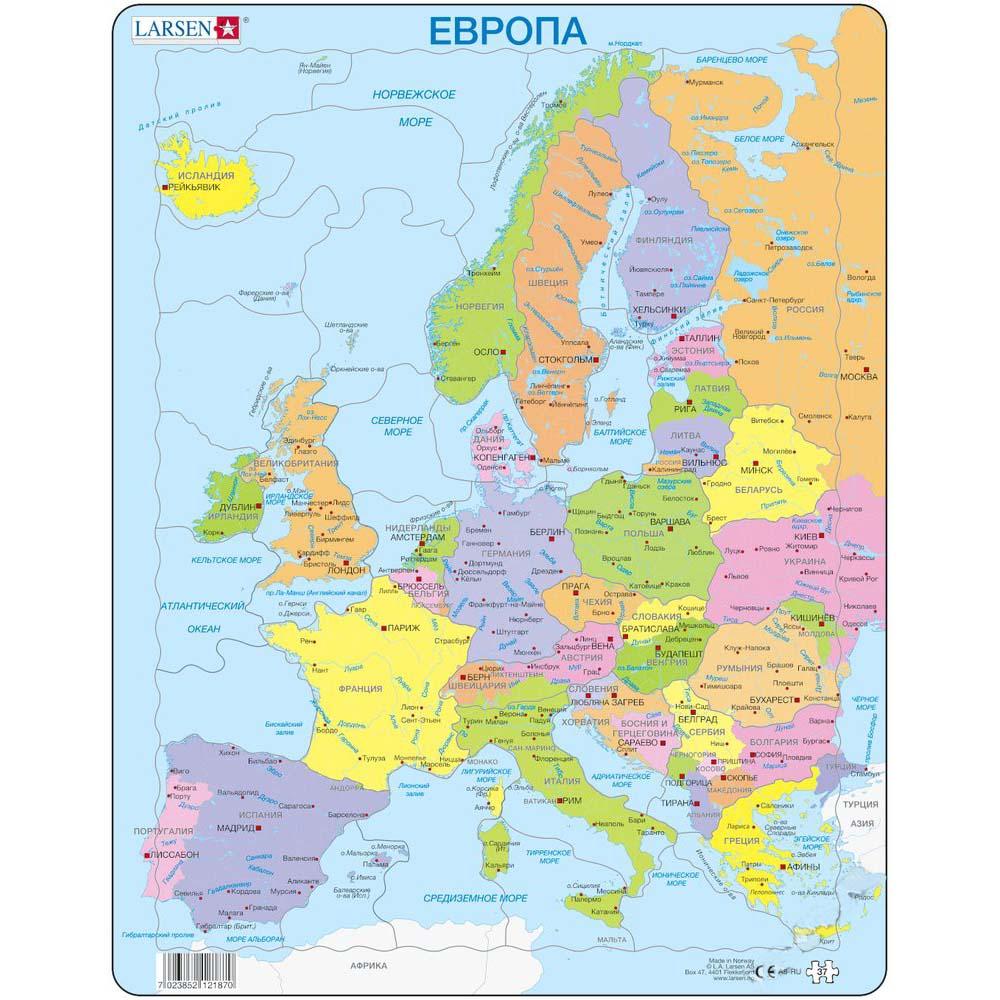 картинка Обучающий пазл - Европа, 37 деталей от магазина Bebikam.ru