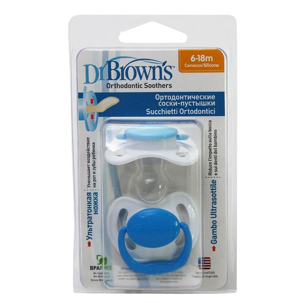 Пустышки Dr Browns силиконовые ортодонтические, 6-18 месяцев, 2 штукиПустышки<br>Пустышки Dr Browns силиконовые ортодонтические, 6-18 месяцев, 2 штуки<br>
