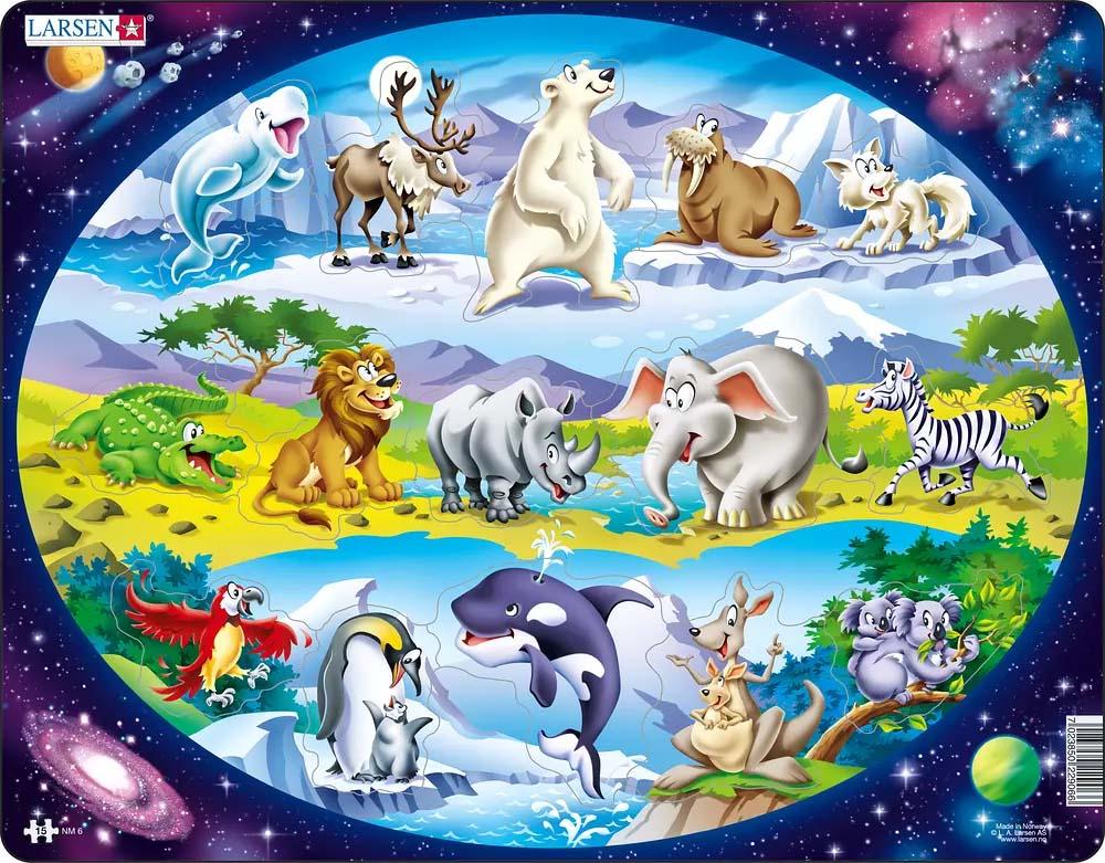 Обучающий пазл - Планета животных, 15 деталейПазлы до 100 элементов<br>Обучающий пазл - Планета животных, 15 деталей<br>