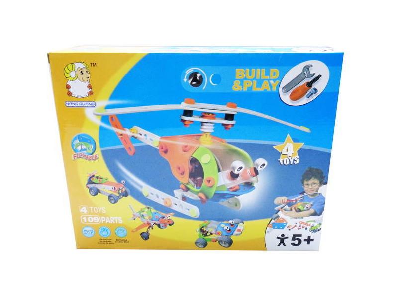 Купить Конструктор Build&Play - Собери вертолет, 109 деталей, Shenzhen Toys