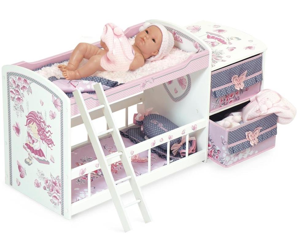 Двухъярусная кроватка для куклы, серия Мария, 80 см - Детские кроватки для кукол, артикул: 169922
