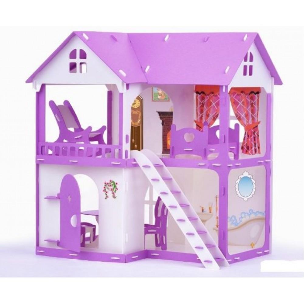 Коттедж для кукол – Светлана, с мебелью, бело-сиреневый