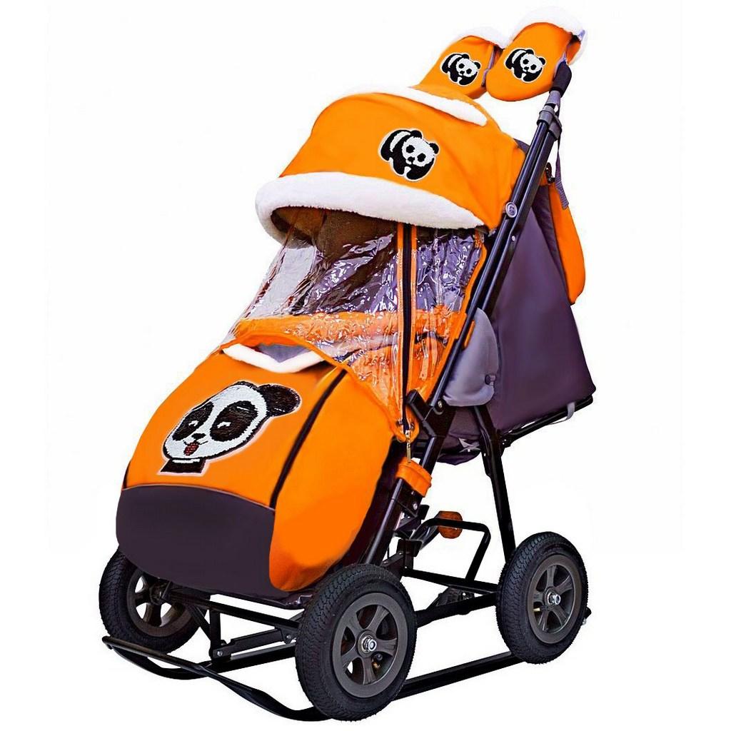 Купить Санки-коляска Snow Galaxy City-1-1, дизайн - Панда на оранжевом, на больших надувных колёсах с сумкой и варежками