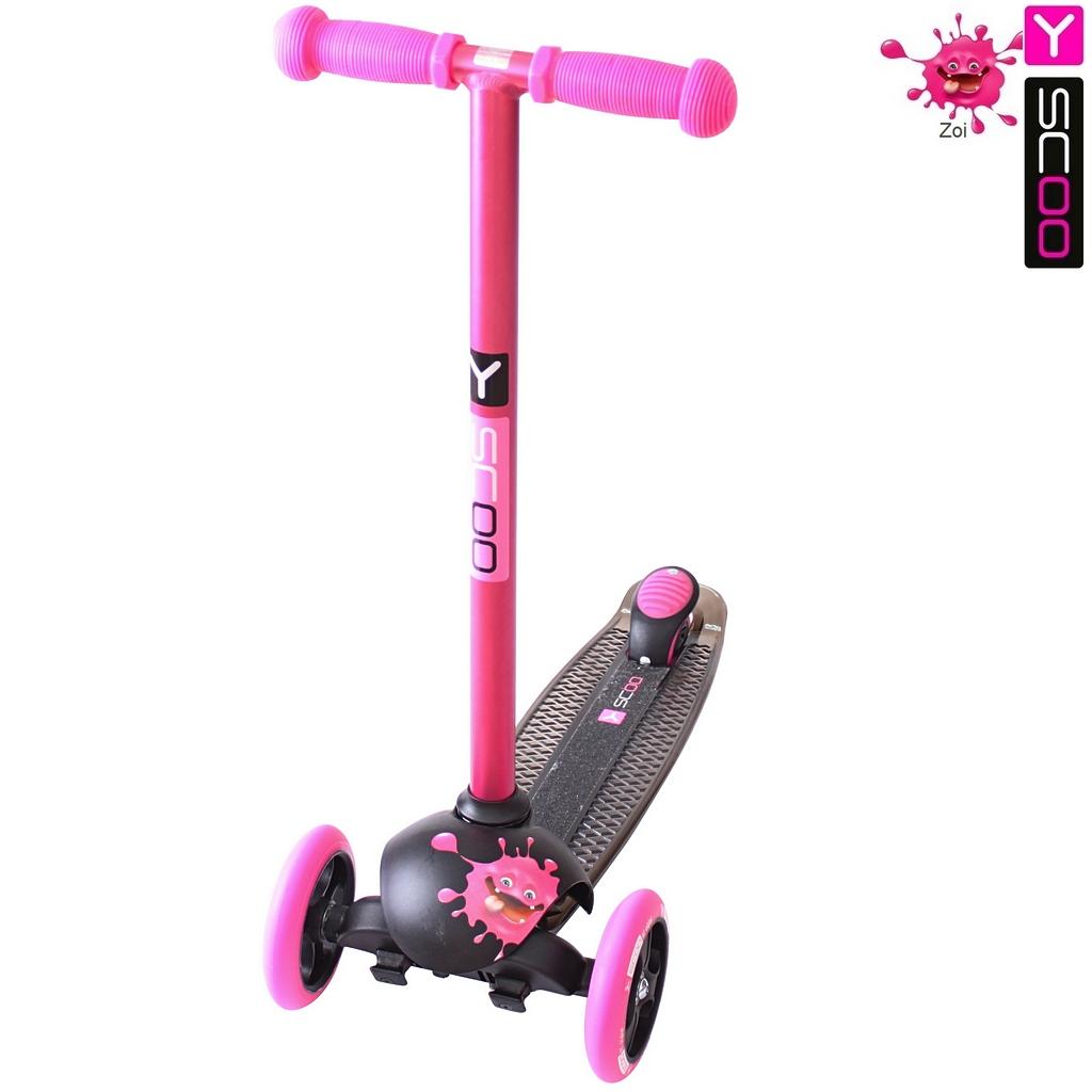 Купить Самокат трехколесный Y-Scoo RT Trio Diamond 120 Monsters, 1 высота, с блокировкой колес, цвет Zoi розовый