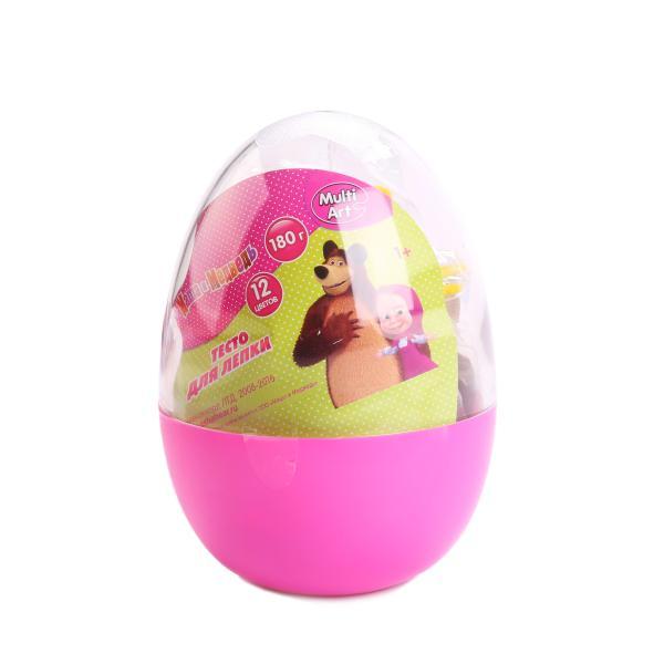 Купить со скидкой Тесто для лепки Маша и Медведь, 12 цветов и 3 формочки, в яйце