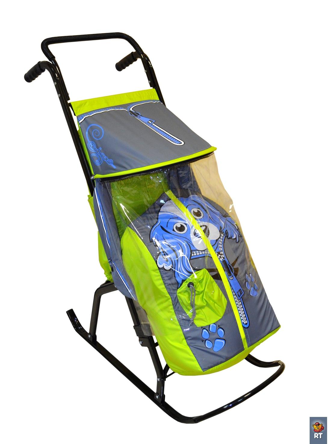 Санки-коляска Снегурочка-2-Р, Собачка, салатовый, серыйСанки и сани-коляски<br>Санки-коляска Снегурочка-2-Р, Собачка, салатовый, серый<br>