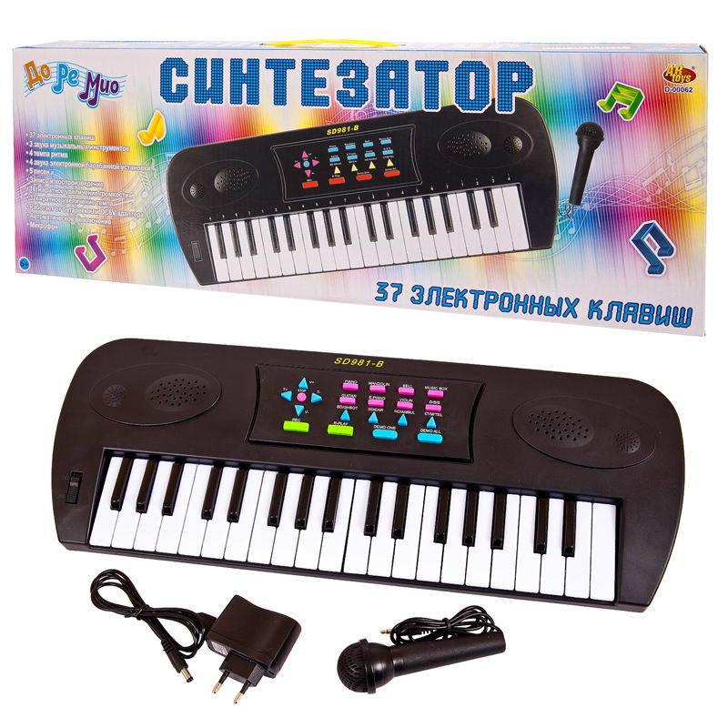 Синтезатор черный с микрофоном, 37 клавиш фото