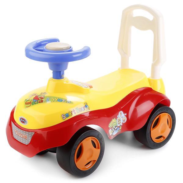 Машина-каталка с ручкой и сигналом-пищалкой - Джип, красно-желтаяМашинки-каталки для детей<br>Машина-каталка с ручкой и сигналом-пищалкой - Джип, красно-желтая<br>
