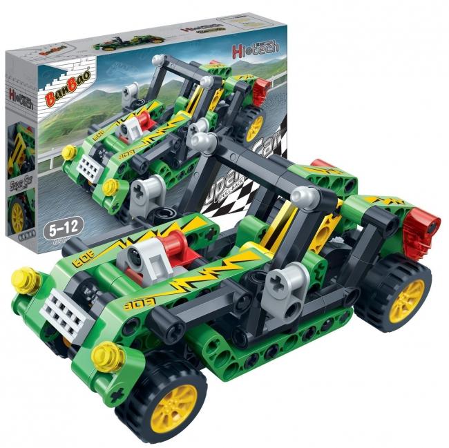 Конструктор - Гоночная машина, зеленая, 128 деталейКонструкторы BANBAO<br>Конструктор - Гоночная машина, зеленая, 128 деталей<br>