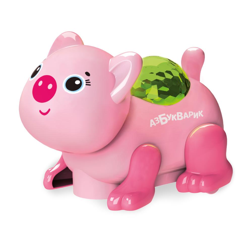 Купить Музыкальная игрушка из серии Диско-зверята – Свинка, светло-розовая, свет и звук, Азбукварик