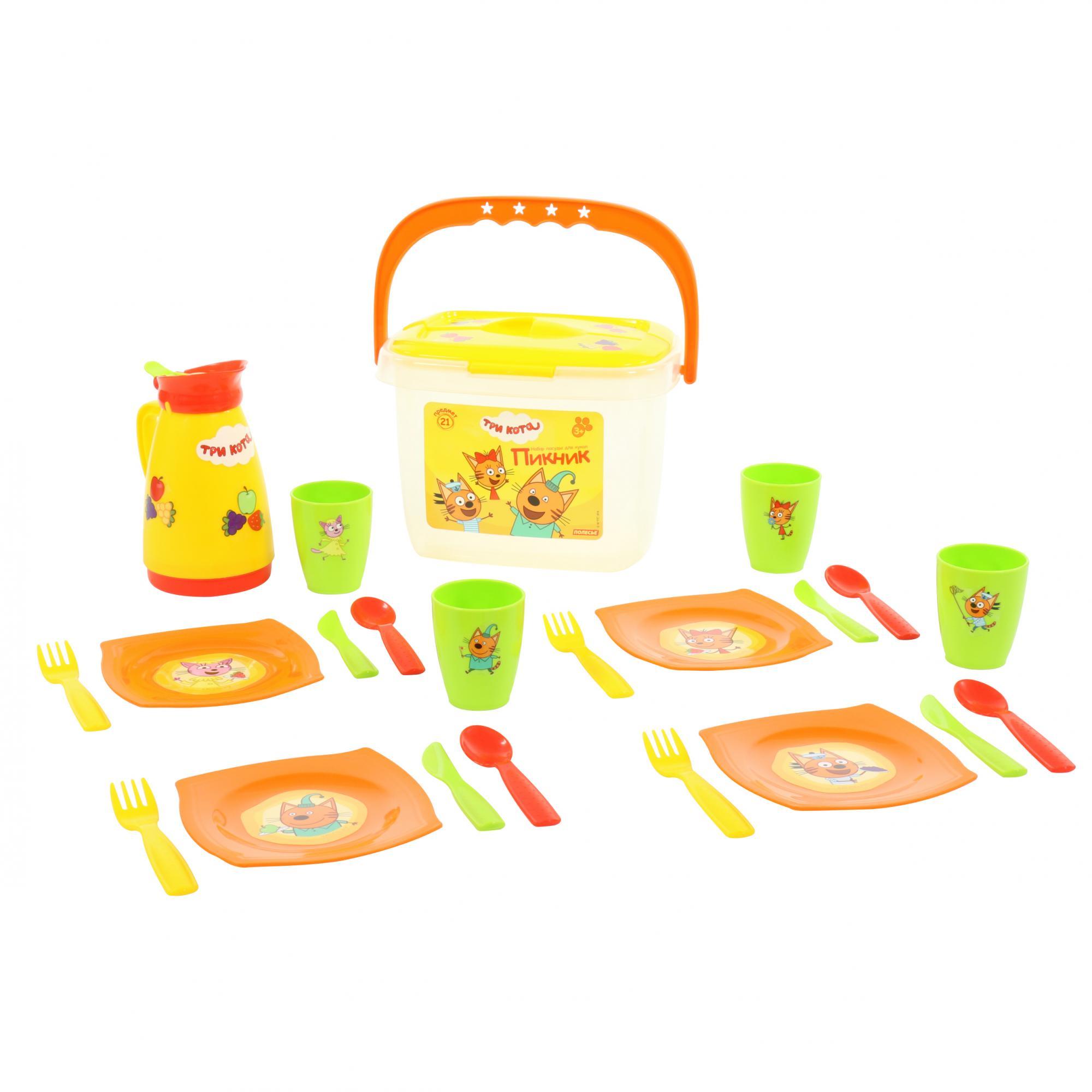 Купить Набор посуды для кукол Пикник из серии Три Кота, 21 элемент, в контейнере, Полесье