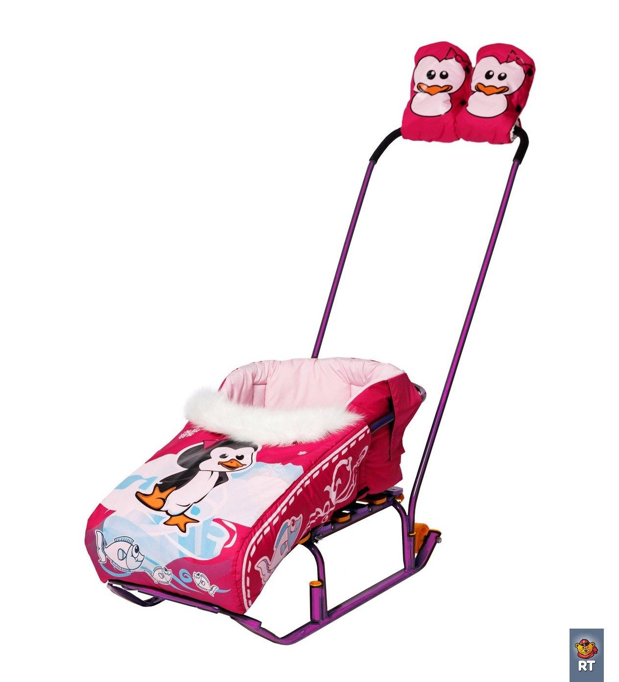 Комплект Пингвиненок : матрасик + варежки. РозовыйМатрасики, муфты, чехлы в санки<br>Комплект Пингвиненок : матрасик + варежки. Розовый<br>