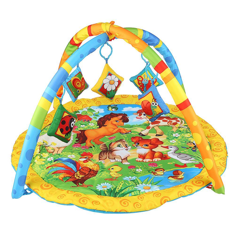Коврик детский развивающий - Домашние животные, с мягкими игрушками на подвеске