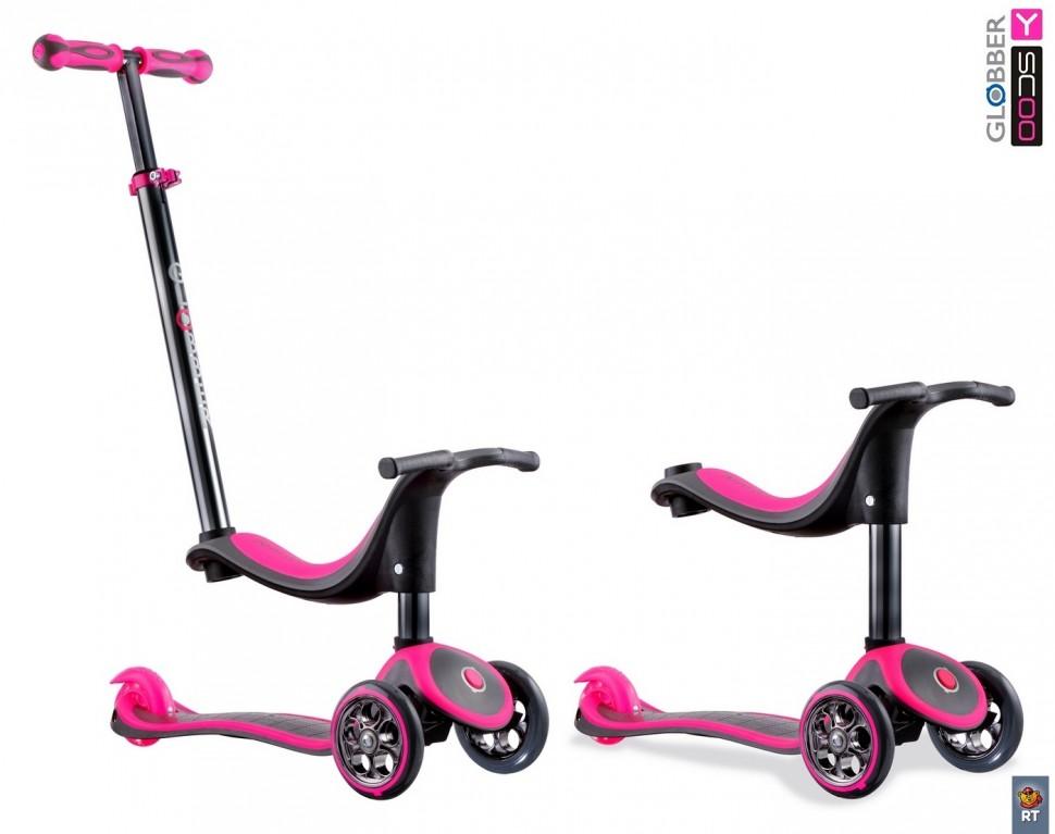 Самокат Y-SCOO Globber My free Seat 4 in 1 Titanium с блокировкой колес, neon pink