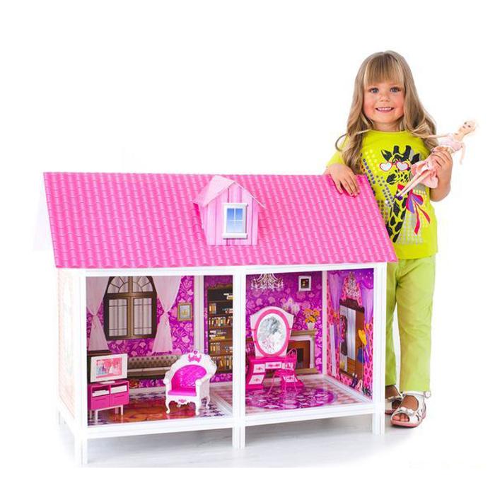 1-этажный кукольный дом - 2 комнаты, мебель, куклаКукольные домики<br>1-этажный кукольный дом - 2 комнаты, мебель, кукла<br>