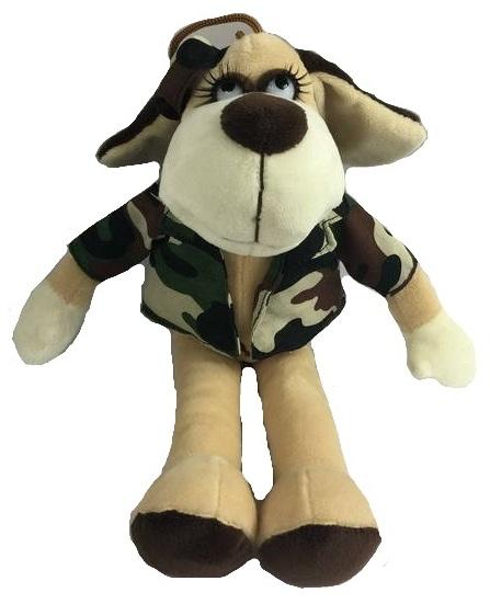Мягкая игрушка - Собака в камуфляжном костюме, 15 смСобаки<br>Мягкая игрушка - Собака в камуфляжном костюме, 15 см<br>