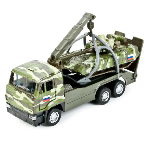 Металлическая инерционная модель – КамАЗ эвакуатор и танк Т-90, 12 и 7,5 смНаборы машинок<br>Металлическая инерционная модель – КамАЗ эвакуатор и танк Т-90, 12 и 7,5 см<br>
